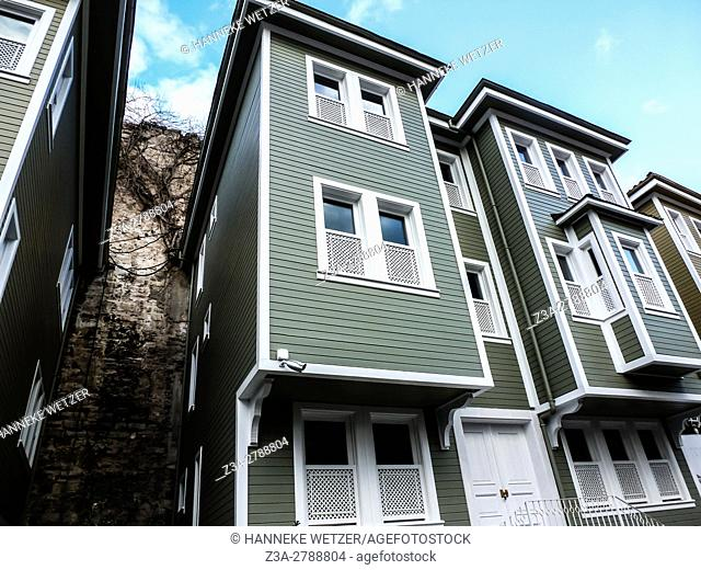Newly built historical mansions in Sogukcesme Street, next to the Hagia Sophia mosque in Istanbul, Turkey