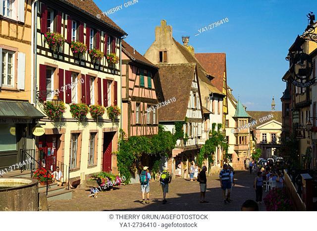 France, Haut-Rhin (68), Wine road, Riquewihr village street