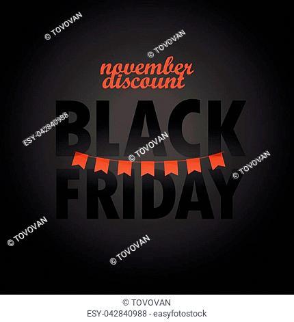 Black Friday sale logo design template. November discount