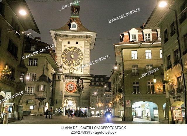 Bern Switzerland-December 6, 2015: cityscape of Bern on Christmas time on December 6, 2015 in Bern, Switzerland. Clock Tower (Zytglogge) by night