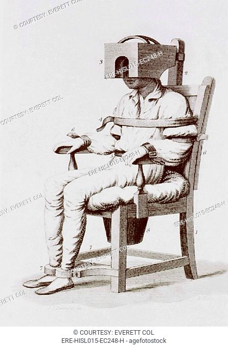 The tranquilizing chair of Benjamin Rush. A mental patient is strapped into a chair with a box-like apparatus is used to confine the head