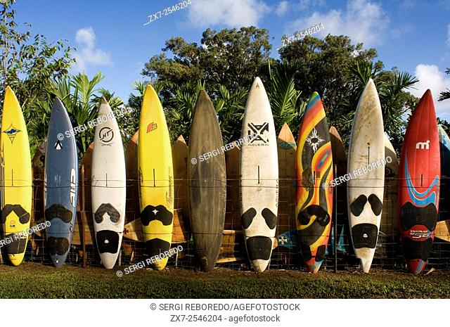 Surfboards decoration in a garden. Huelo. Hawaii. Huelo is a small community located along the Road to Hana Hana Highway