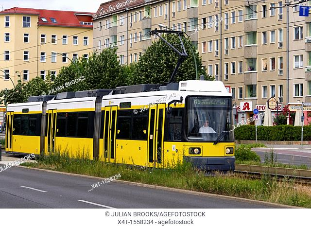 Modern tram on the streets of the former East Berlin