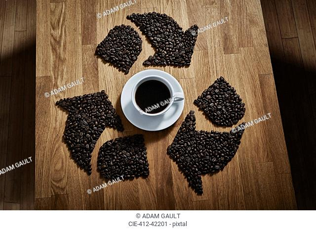 Coffee beans forming recycle symbol around coffee cup