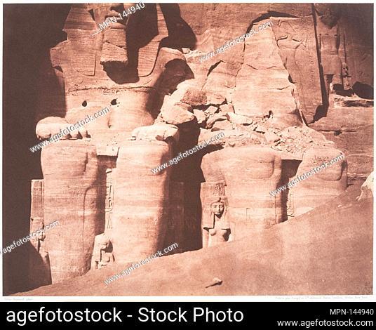Abo-Sembil, Grand Spéos, Statues Colossales vues de Face (Parte Inférieure). Artist: Félix Teynard (French, 1817-1892); Date: 1851-52; Medium: Salted paper...