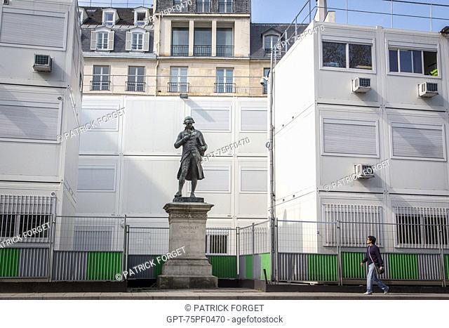 STATUE OF CONCORDET AMIDST A CONSTRUCTION SITE'S MODULAR BUILDINGS, CONTI QUAY, 6TH ARRONDISSEMENT, PARIS, FRANCE