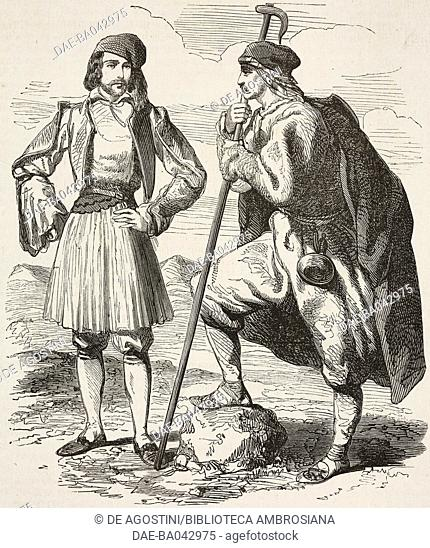 Spartan man and shepherd from Laconia, Greece, from a drawing by Alfred de Saint-Edme, illustration from L'Illustration, Journal Universel, No 587, Volume XXIII