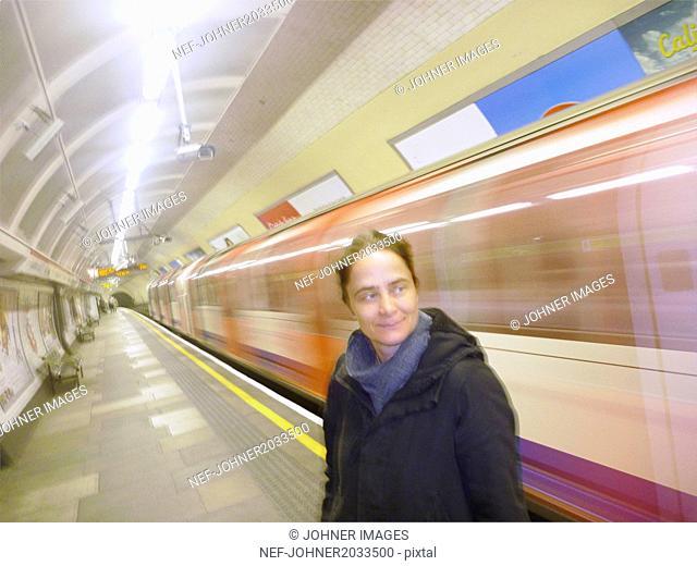 Woman on subway station