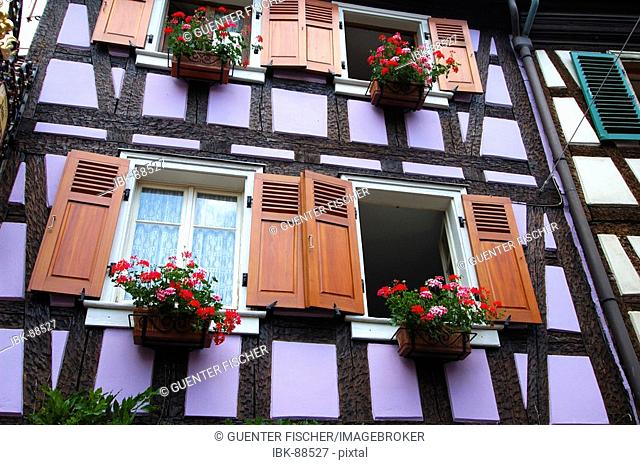 Medieval Alsatian half-timbered house Ribeauville Alsace France