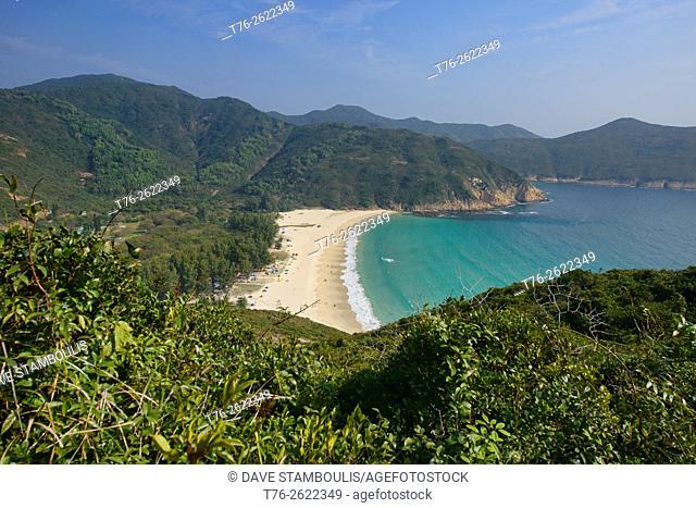 Beautiful Long Ke Wan beach seen from the MacLehose Trail, Sai Kung, Hong Kong