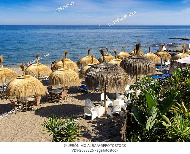 Villa Tropicana Chiringuito, beach restaurant and umbrellas. Mijas Costa, Malaga province, Costa del Sol, Andalusia, Spain Europe