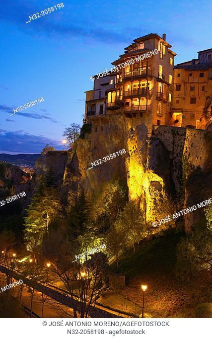 Cuenca, Casas Colgantes, Hanging houses at dusk, UNESCO World Heritage Site. Castilla-La Mancha. Spain