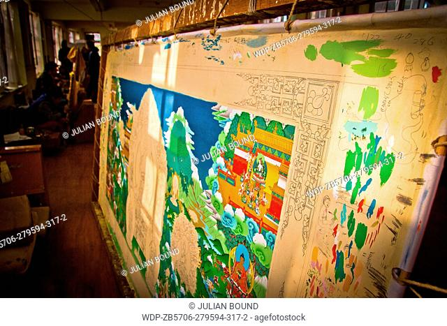 Thangka painting studio and Tibetan artists of Norbulingka Institute of Tibetan Arts, Dharamshala, India
