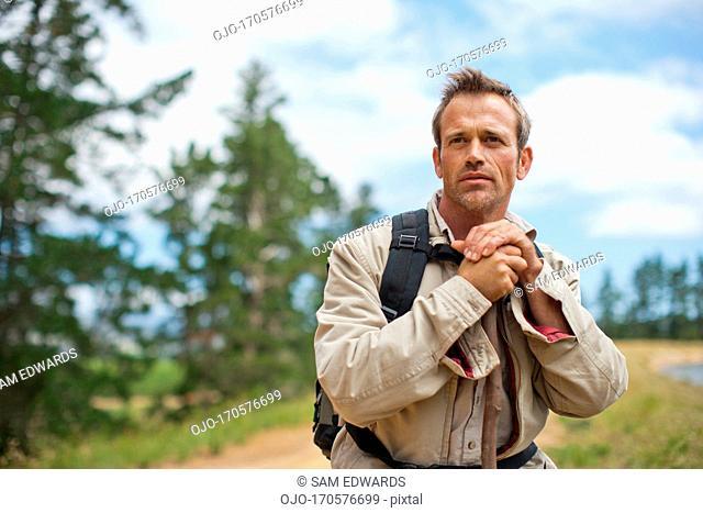 Man hiking near remote area