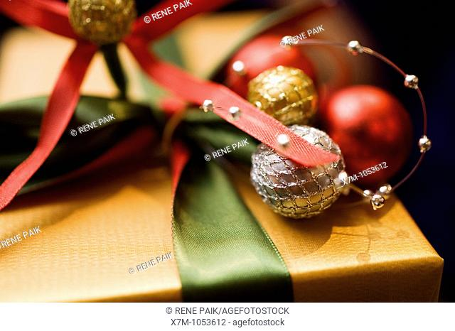 Finely wrapped Christmas gift box