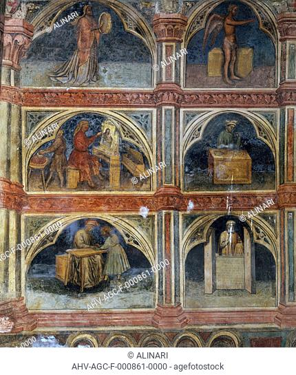 Detail of the frescoes of the cycle which decorates the Salone in the Palazzo della Ragione in Padua. The complex work is of Giottesque School and depicts 'The...