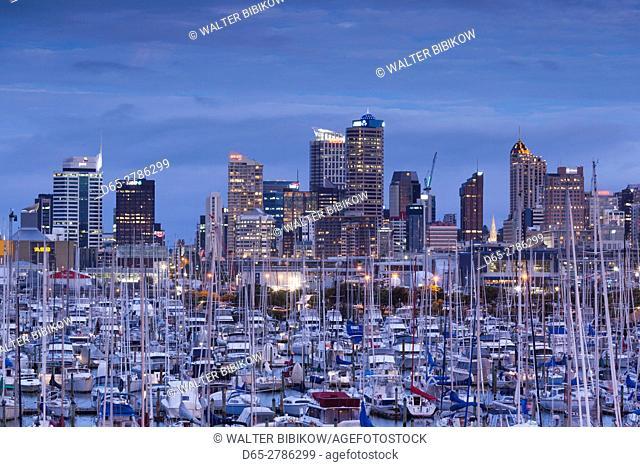 New Zealand, North Island, Auckland, skyline from Westhaven Marina, dusk