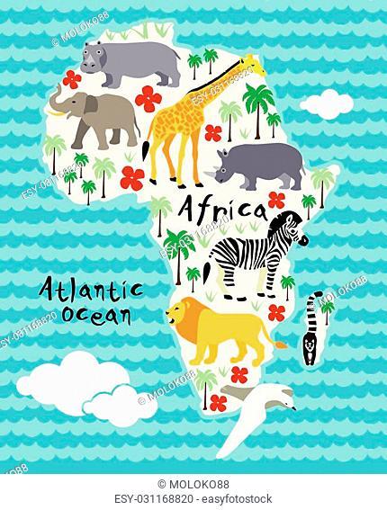 Africa cartoon animal map. Vector illustration