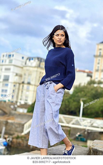 Woman, Port des Pêcheurs, Fishing port, Biarritz, Pyrenees Atlantiques, France, Europe