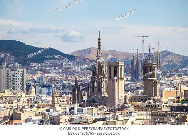 View of Cathedral and Sagrada Familia in Barcelona Catalonia Spain