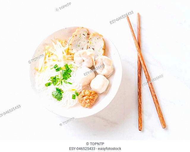 noodles with fish ball in soup - Asian food style