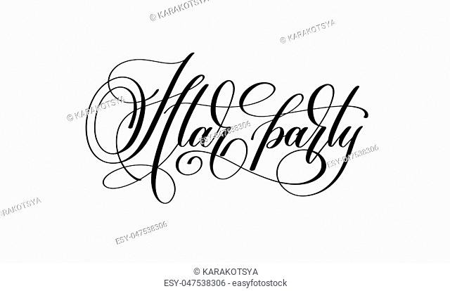Iftar party - hand lettering calligraphy text to islamic holiday design, vector illustration