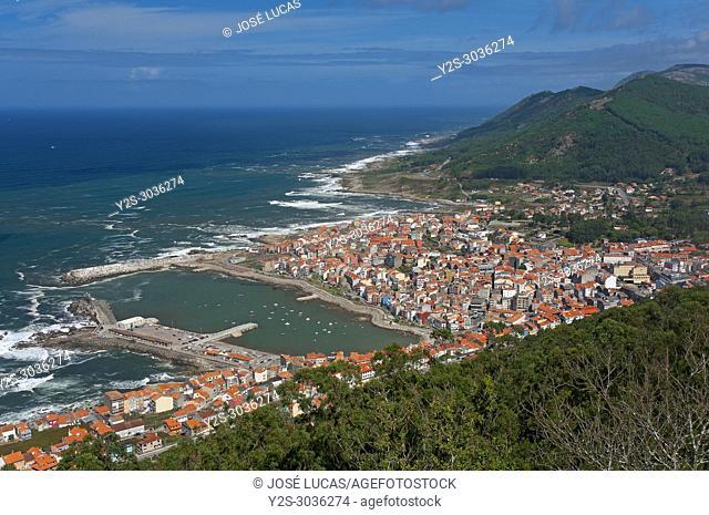 Panoramic view by the sea, La Guardia, Pontevedra province, Region of Galicia, Spain, Europe