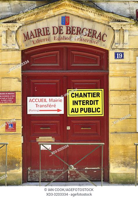 entrance to town hall, Bergerac, Dordogne Department, Nouvelle Aquitaine, France