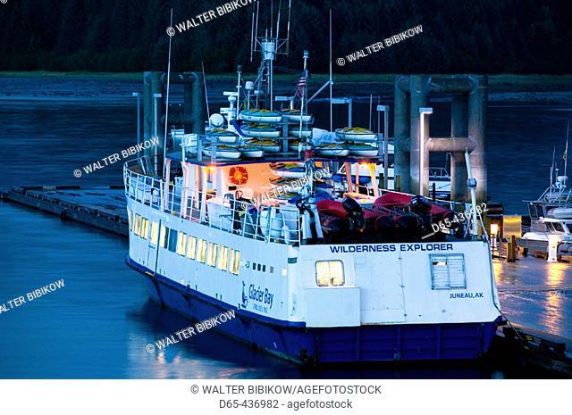 Evening. Bartlett Cove. Glacier Bay Lodge Tour Boat 'Wilderness Explorer'. Glacier Bay National Park. Southeast Alaska. USA