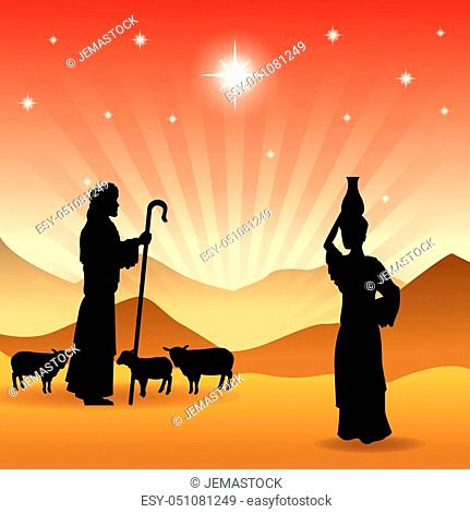 Merry Christmas and holy family concept represented by the shepherd and his sheeps icon. Silhouette and flat illustration