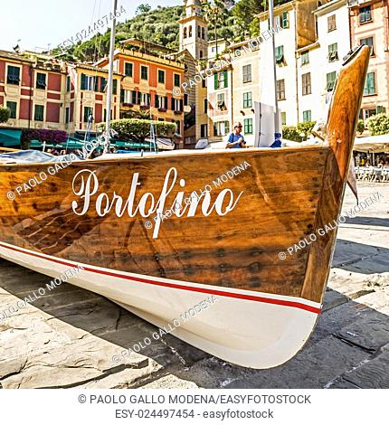 The name of the famous Portofino town in Italy on a boatside - landmark sign, no copyright