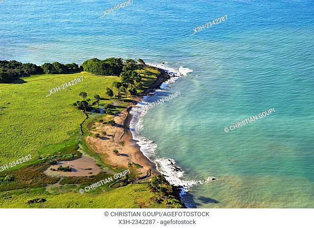 aerial view of ''Pointe Allegre'' the northest headland of Basse-Terre, Grand Cul-de-sac Marin, Sainte-Rose, Basse-Terre, Guadeloupe, overseas region of France