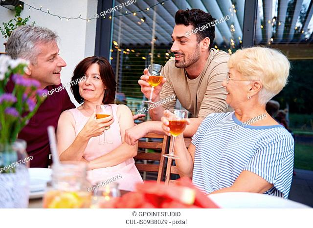 Family adults talking and having wine with lunch on patio