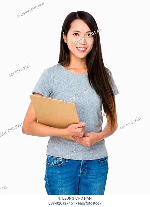 Asian Young Woman hold with clipboard
