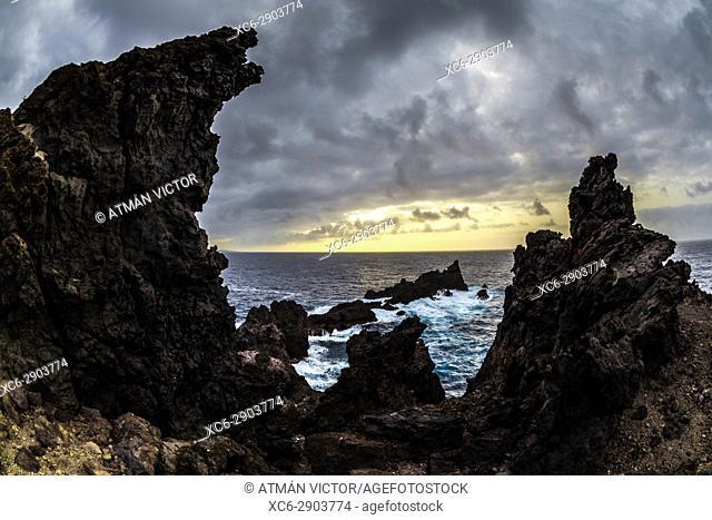 Volcanic landscape in Punta Juan Centellas. Icod de Los Vinos. Santa Cruz de Tenerife