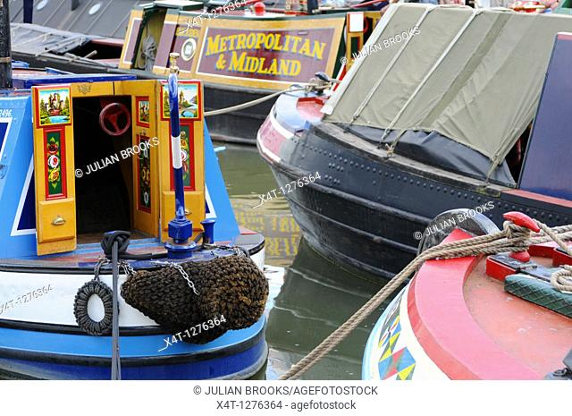 Brightly coloured canal boats at the Braunston Canal festival
