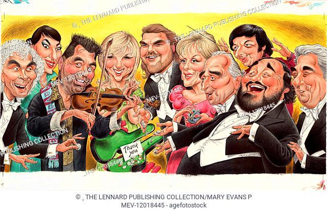Simon Rattle, Maria Callas, Nigel Kennedy, Leslie Garrett, Bryn Terfel, Kiri Te Kanawa, Jose Carreras, Andre Previn, Luciano Pavarotti