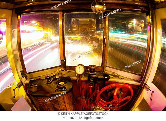 Interior view of Trolley at night, long exposure, Downtown Dallas, Texas, USA