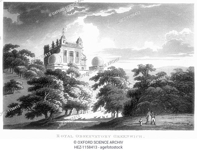 The Royal Greenwich Observatory, Flamsteed House, Greenwich Park, London, c1820. The observatory was built by Christopher Wren (1632-1723) on the orders of...