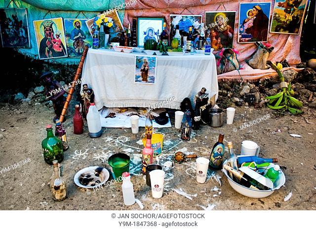 A sacred ritual place assigned to the Vodou ceremony in Saut d'Eau, Haiti, 16 July 2008  Vodou is a religion originating from the Caribbean country of Haiti  It...