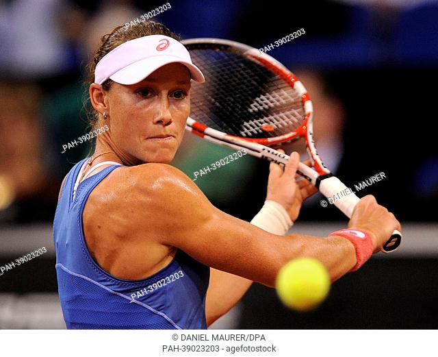 Australia's Samantha Stosur hits the ball during the first-round match of the WTA Tennis Grand Prix against Serbia's Jankovic at Porsche Arena in Stuttgart