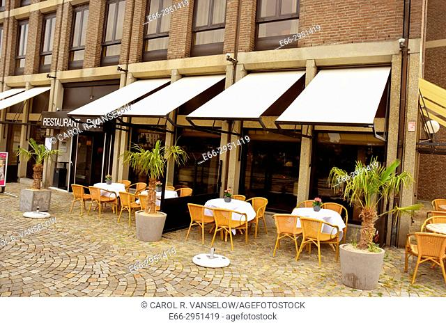 Terrace of a restaurant/bar on the east bank of the Maas river, in the Ceramique neighbourhood. Netherlands