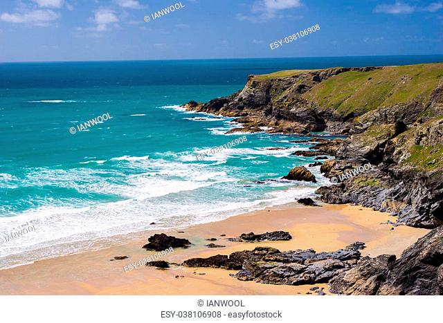 Overlooking Pentire Steps Beach on the North Coast of Cornwall England UK Europe