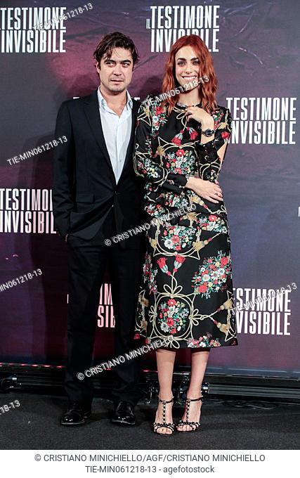 The actor Riccardo Scamarcio, the actress Miriam Leone during the photocall of film Il testimone invisibile, Rome, ITALY-06-12-2018