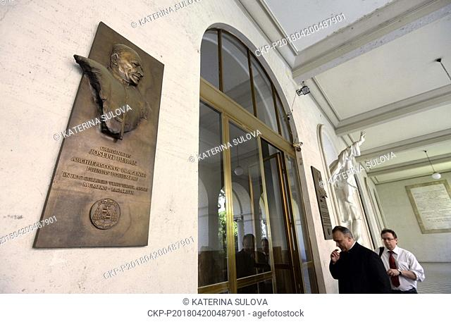 Cardinal Beran's memorial plaque in the Nepomucenum Papal college is seen in Vatican in April 20, 2018. The remains of Cardinal and Prague Archbishop Josef...