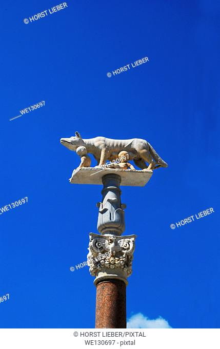She-wolf with Romulus and Remus on column