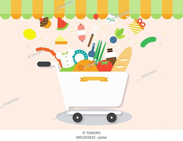 Flat-design of shopping event with various objects in cart