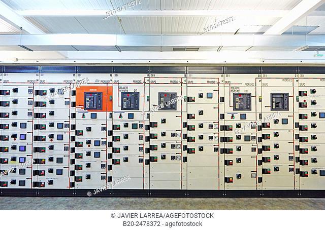 Row of electrical panels, Hospital Donostia, San Sebastian, Basque Country, Spain