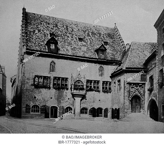 Old town hall of Regensburg, Bavaria, Germany, Europe, historical photograph from around 1900