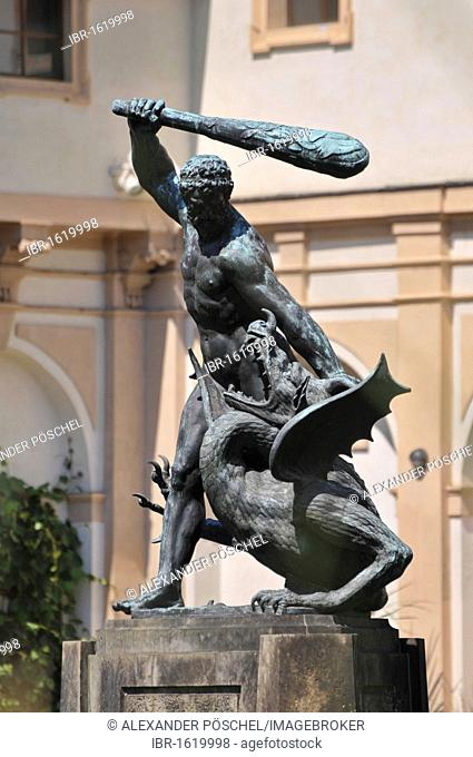 Hercules statue, Waldstein Garden, Wallenstein Palace, Prague, Old Town, Czech Republic, Europe